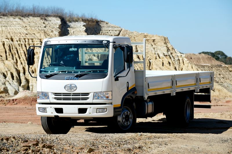 FAW truck in a sand quarry